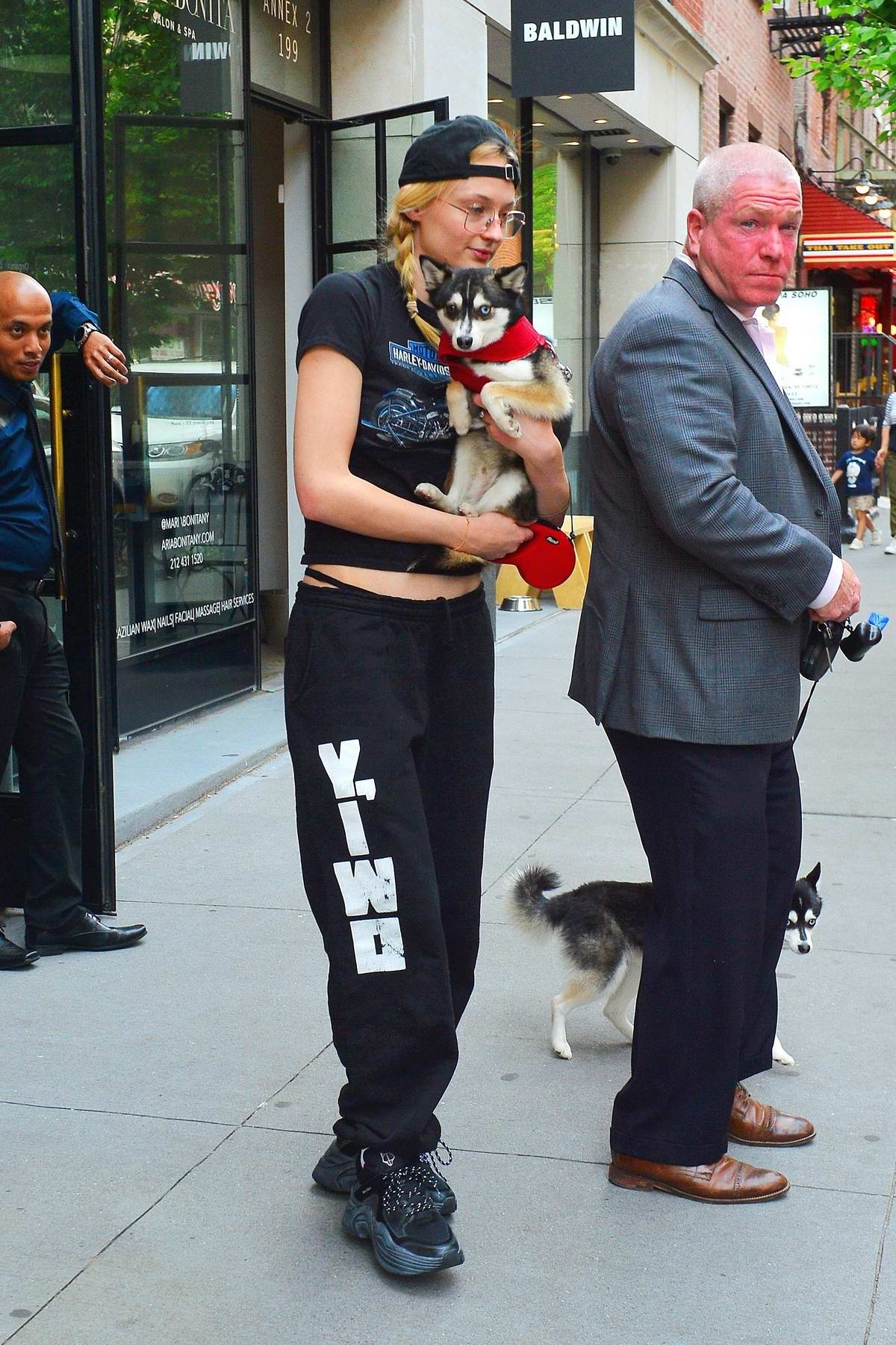 Sophie Turner seen leaving her apartment with her dog in New York City