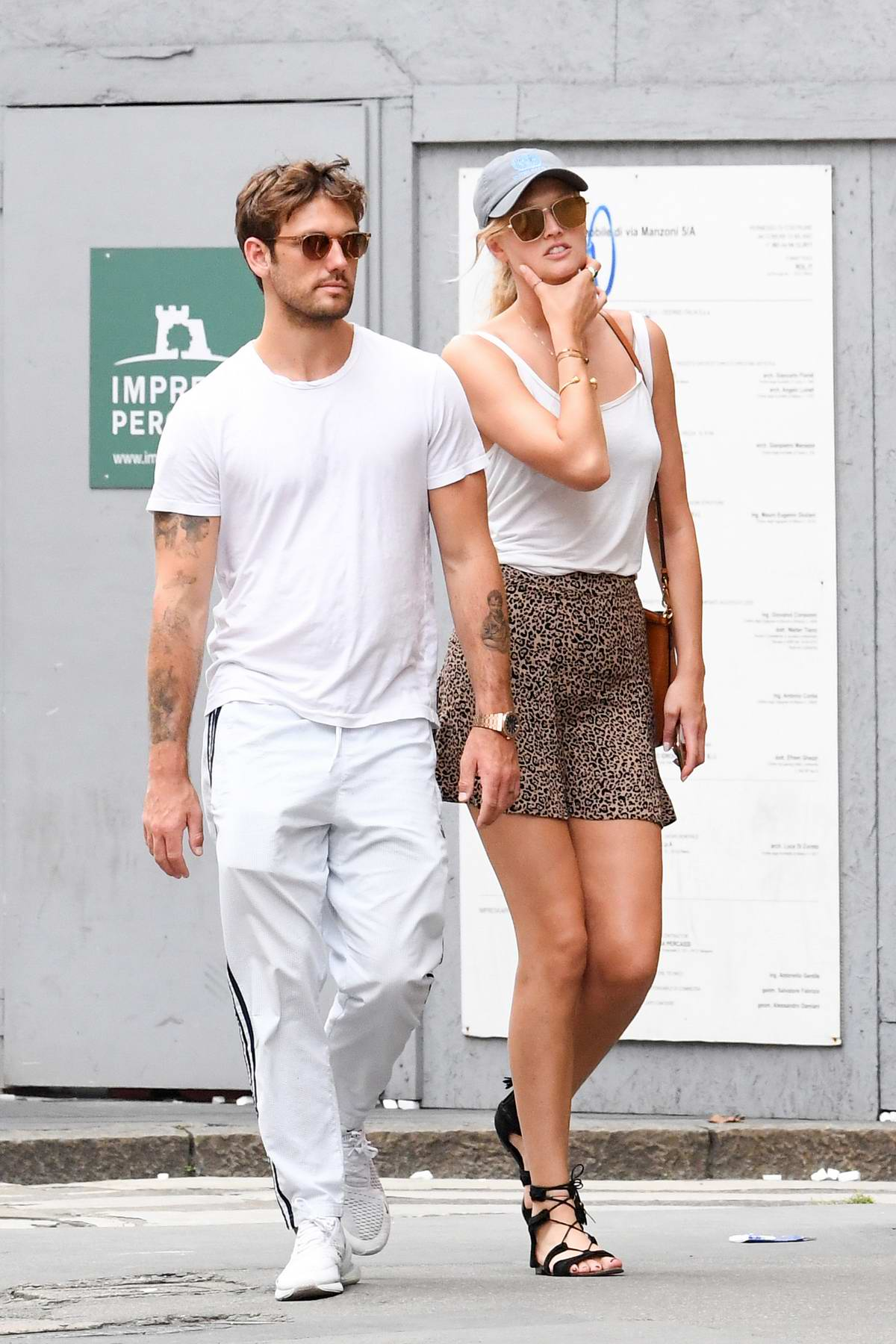 Toni Garrn and boyfriend Alex Pettyfer step out in Milan, Italy