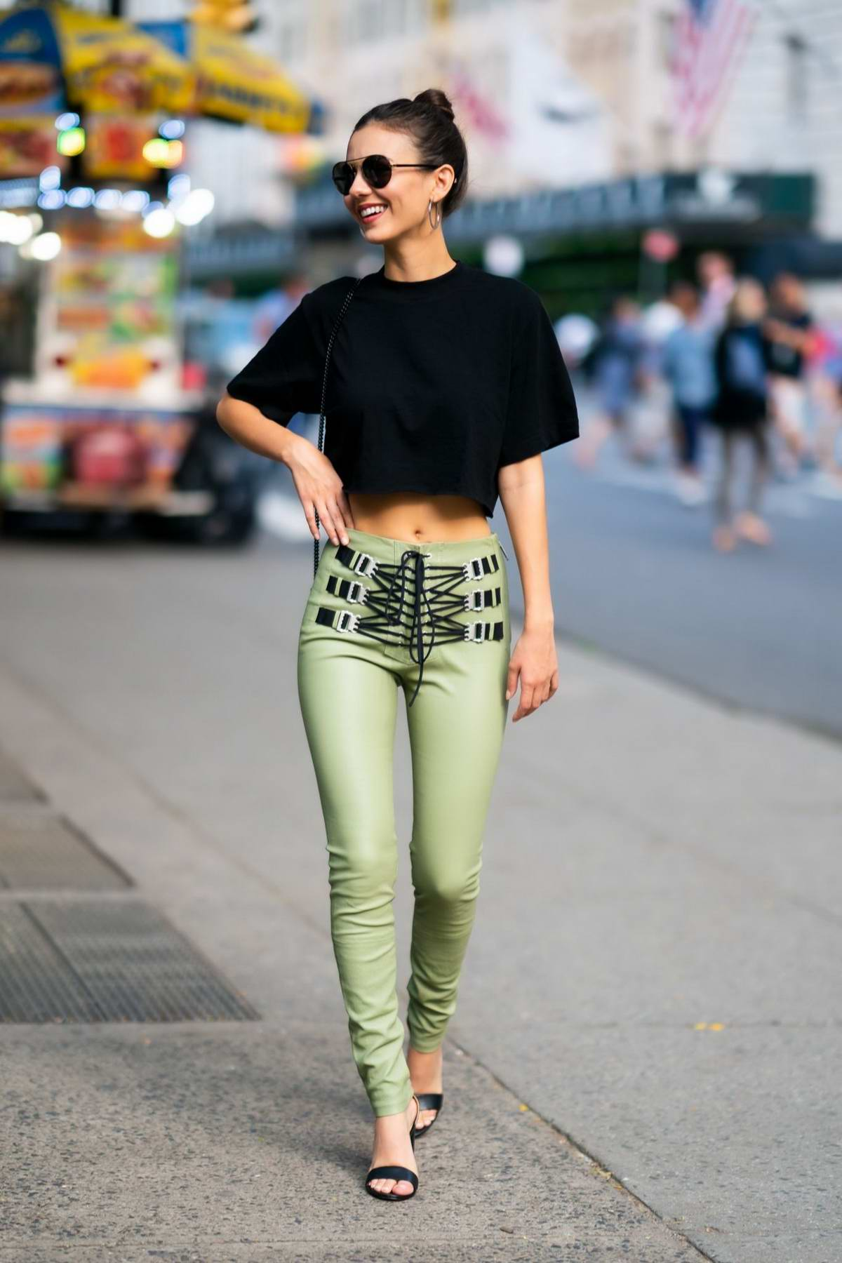Victoria Justice Looks Chic In A Black Crop Top And Green