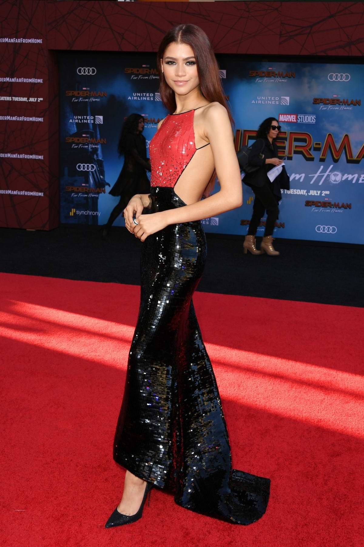 Zendaya attends the premiere of 'Spider-Man: Far From Home' at TCL Chinese Theatre in Hollywood, California