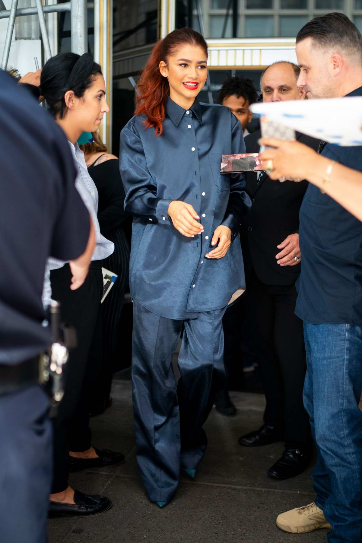 Zendaya greets fans while out in Midtown in New York City