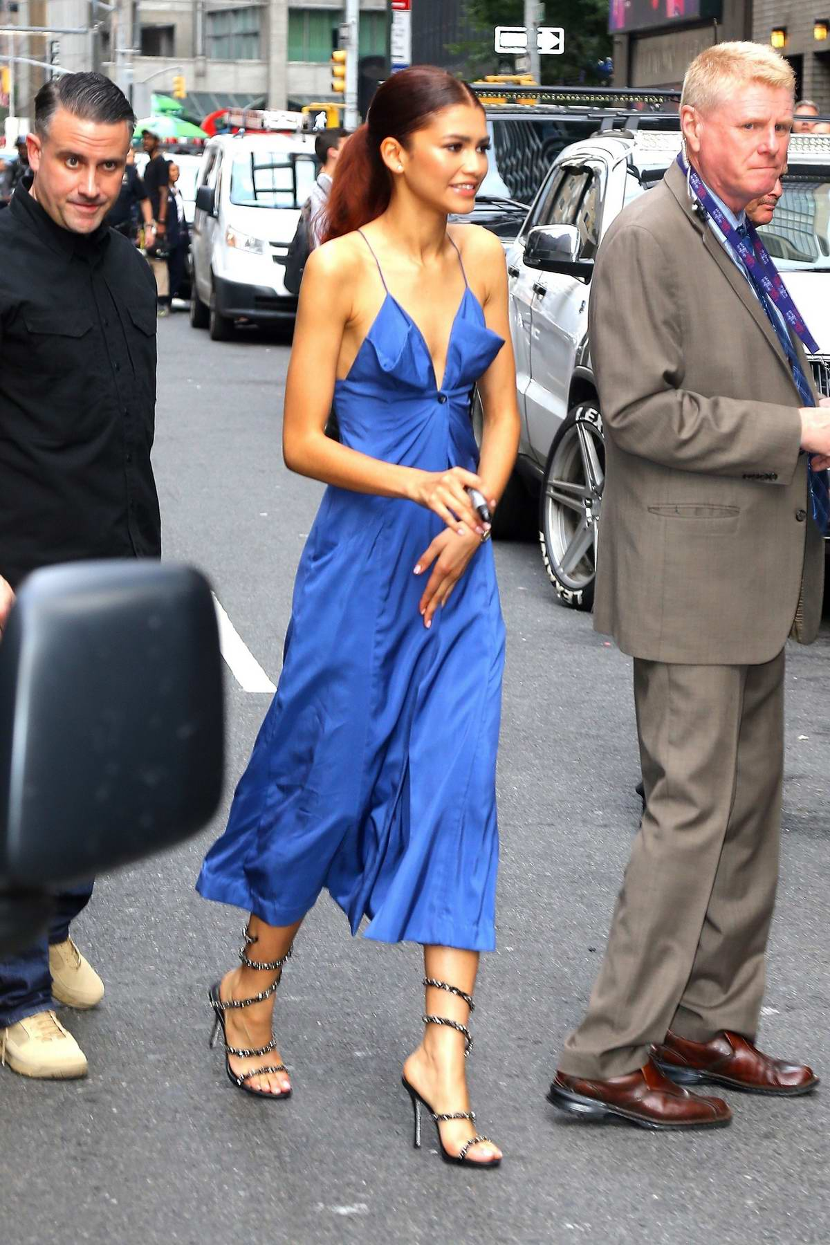 Zendaya seen wearing a blue dress as she leaves 'The Late Show with Stephen Colbert' in New York City
