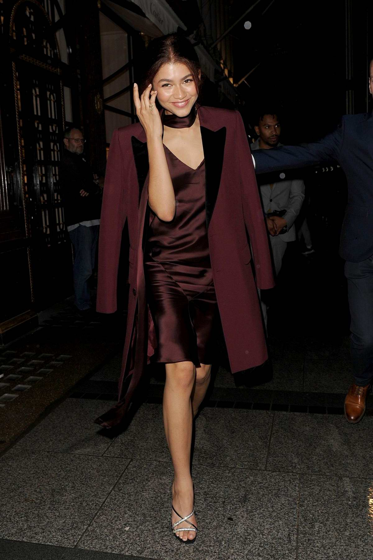 Zendaya smiles for the camera she leaves a Cartier Store in London, UK