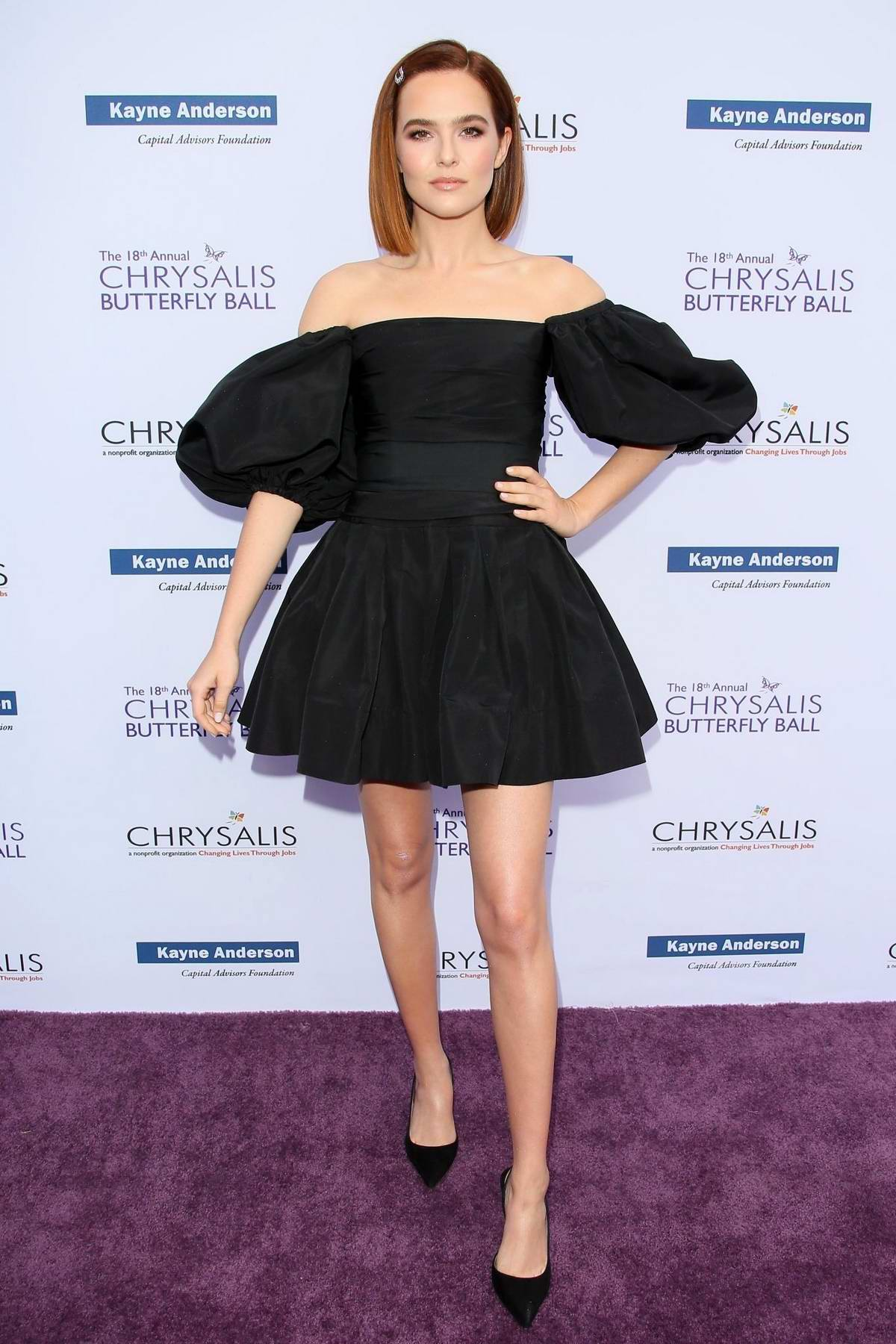 Zoey Deutch attends the 18th annual Chrysalis Butterfly Ball in Brentwood, Los Angeles