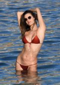 Alessandra Ambrosio dons an auburn bikini while enjoying a beach day with Nicolo Oddi in Mykonos, Greece