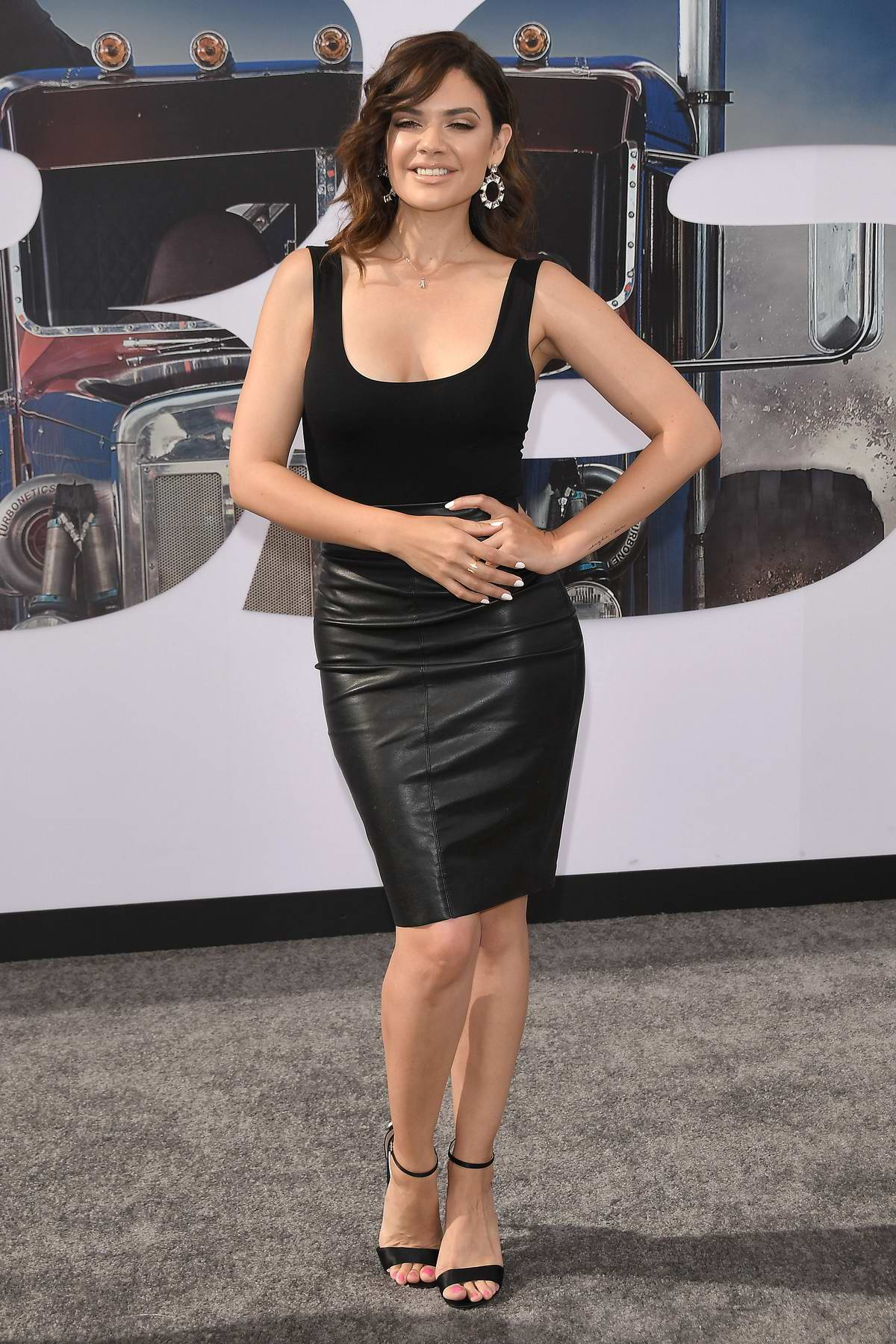 Angelica Celaya attends the Premiere of 'Fast & Furious Presents: Hobbs & Shaw' at Dolby Theatre in Hollywood, California