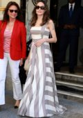 Angelina Jolie looks gorgeous in a long flowing dress while stepping out with Jacqueline Bisset in Paris, France
