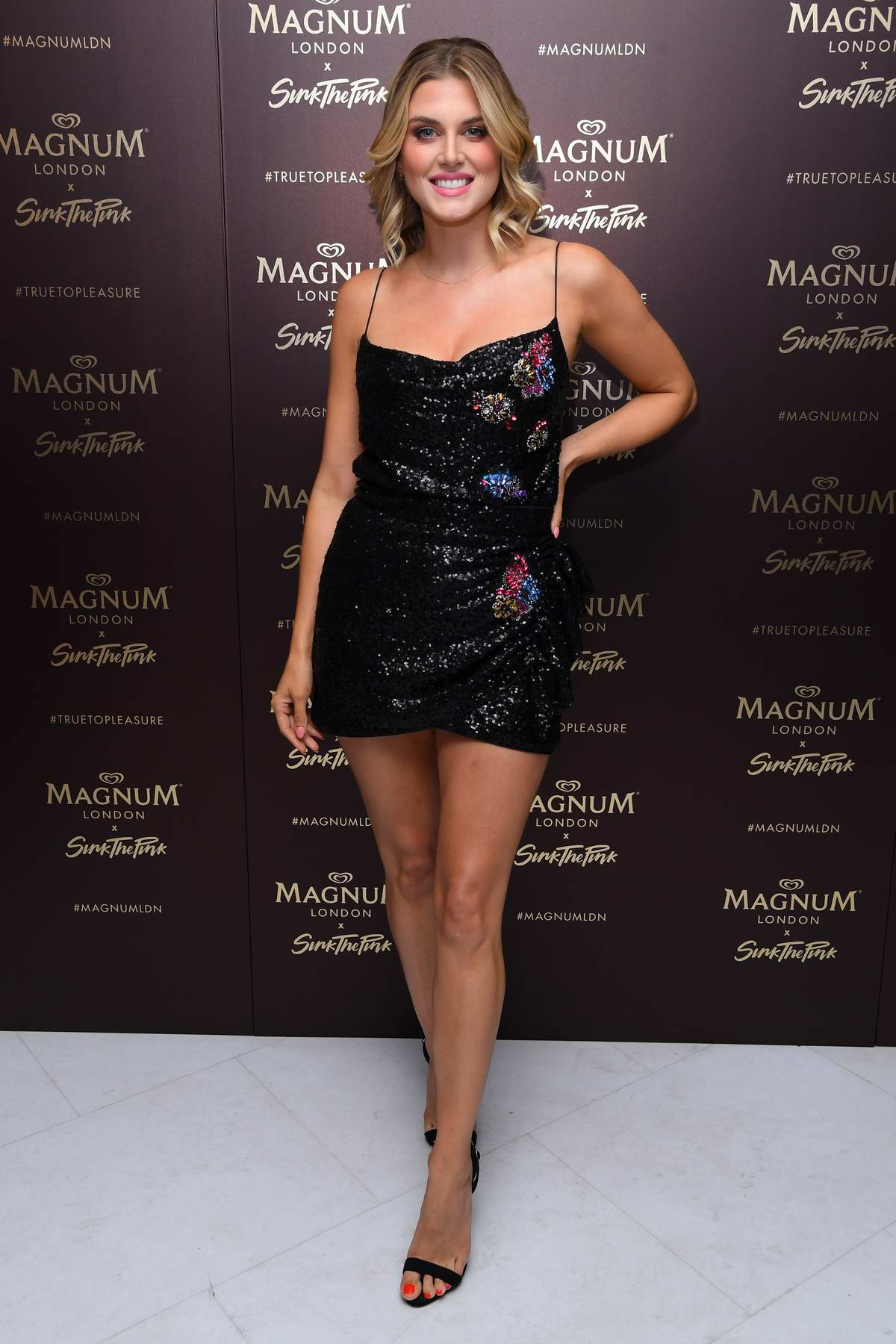Ashley James attends the Magnum Pleasure Store launch party in London, UK