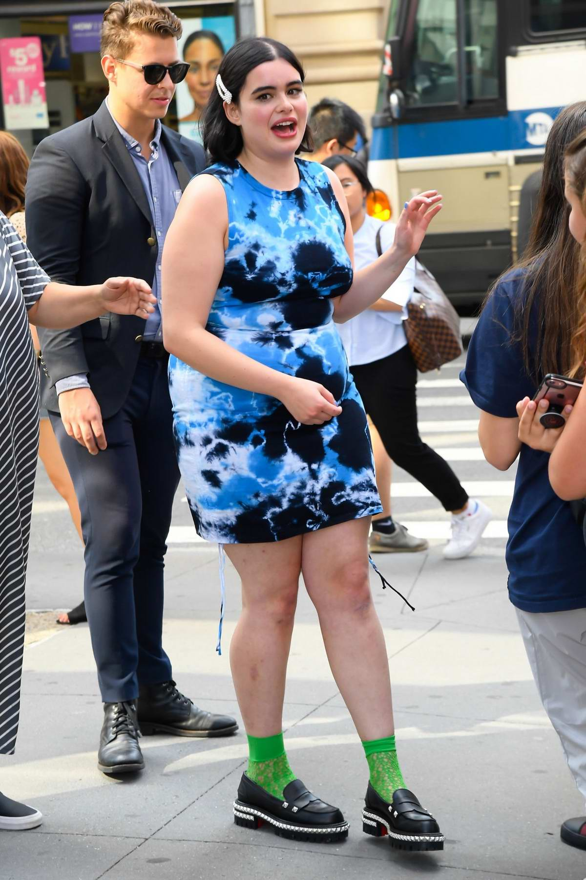 Barbie Ferreira is all smiles as she poses outside Build Studio in New York City