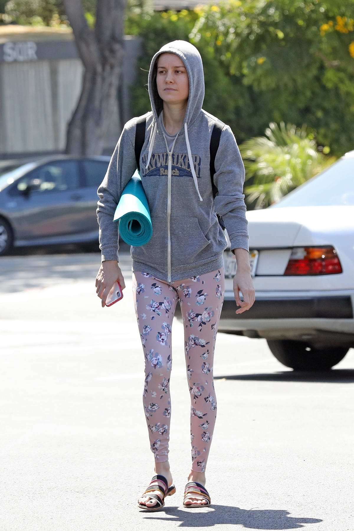 Brie Larson sports a hoodie and leggings as she heads to a yoga class in Los Angeles