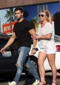 Britney Spears and Sam Asghari hold hands during an lunch outing at Le Pain in Beverly Hills, Los Angeles