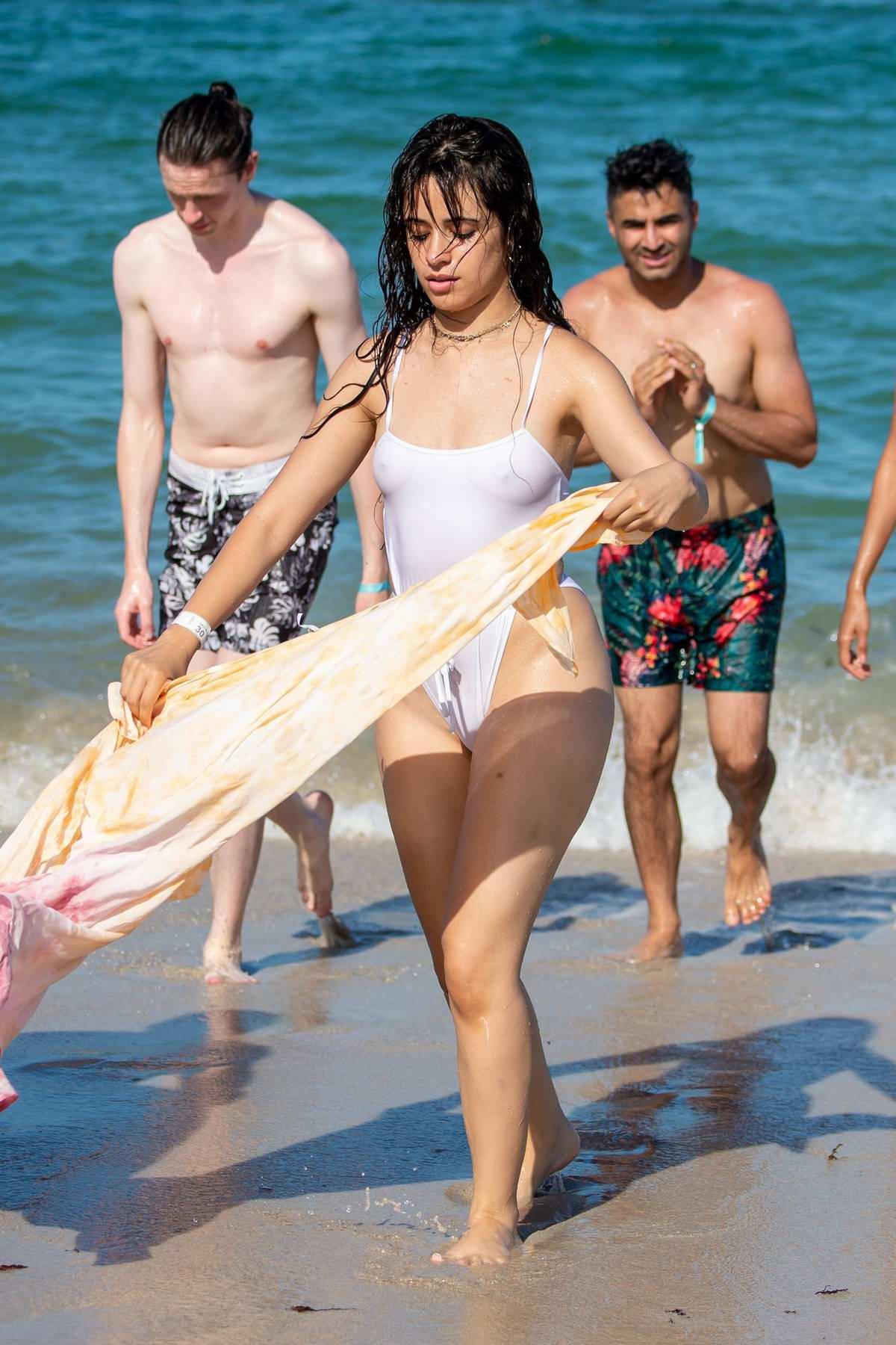 Flea Market Miami >> camila cabello wears a white swimsuit during a pda-filled ...