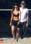 Camila Morrone and Leonardo DiCaprio enjoy some beach volleyball with April Love Geary in Malibu, California