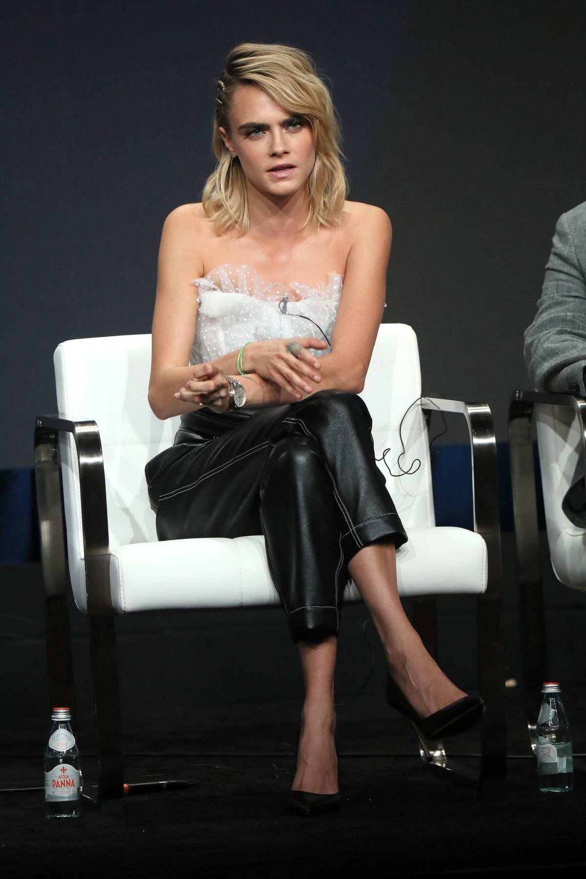 Cara Delevingne attends the 'Carnival Row' Panel at the Summer 2019 TCA Press Tour in Beverly Hills, Los Angeles