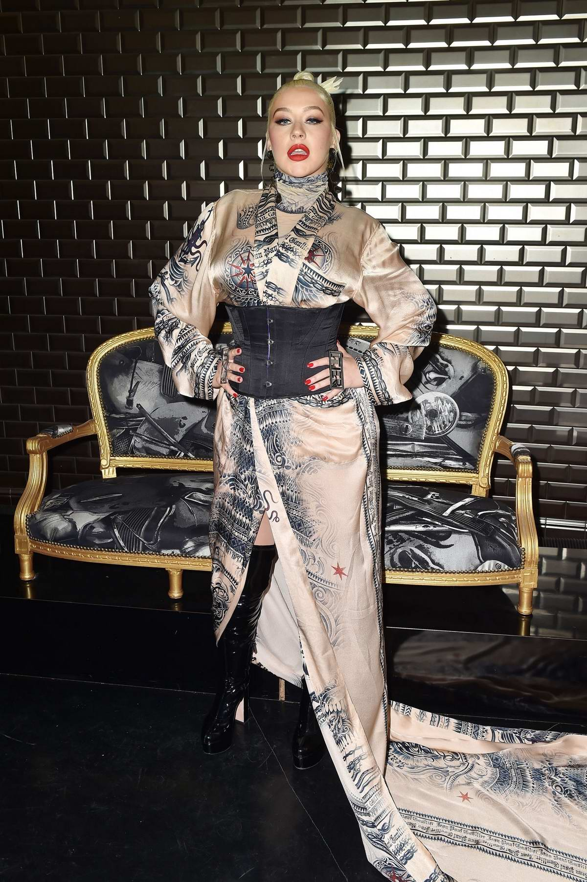 Christina Aguilera attends the Jean Paul Gaultier Haute Couture Fall/Winter 2019/20 show during Paris Fashion Week in Paris, France