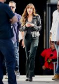 Dakota Johnson arrives at the Microsoft Theater to film scenes for 'Covers' in Los Angeles