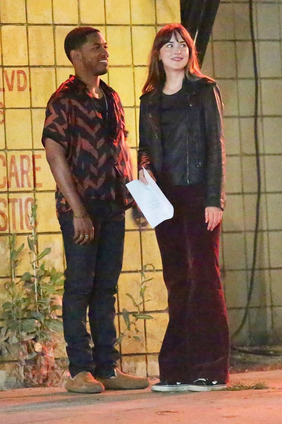 Dakota Johnson spotted on set while filming for her upcoming comedy 'Covers' in Los Angeles
