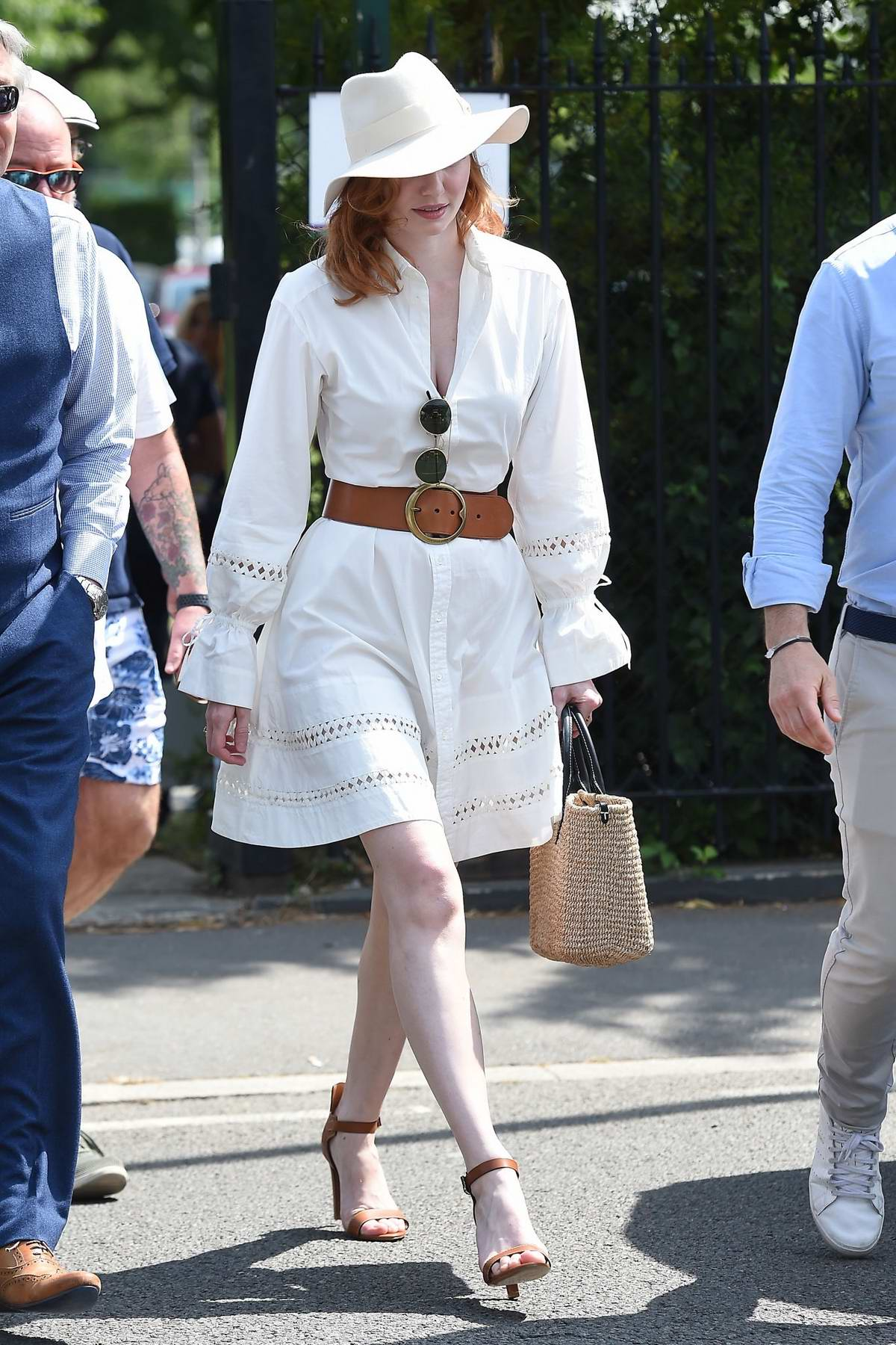 Eleanor Tomlinson attends the 2019 Wimbledon Tennis Championships in London, UK