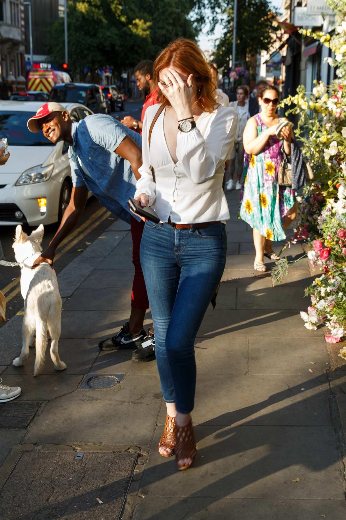 Eleanor Tomlinson seen leaving Chelsea Garden in London, UK