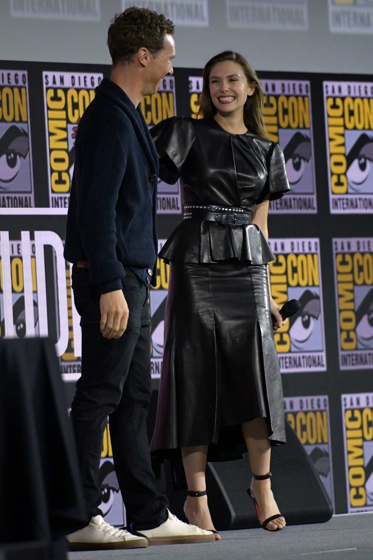 Elizabeth Olsen attends the 'Marvel' panel during 2019 Comic-Con International in San Diego, California