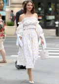 Ella Hunt looks elegant in white as she arrives at Build Studio in New York City