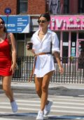 Emily Ratajkowski steps out in a white belted shirt dress in New York City