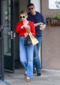 Emma Roberts and boyfriend Garrett Hedlund grab food and coffee from Stamp in Los Feliz, California
