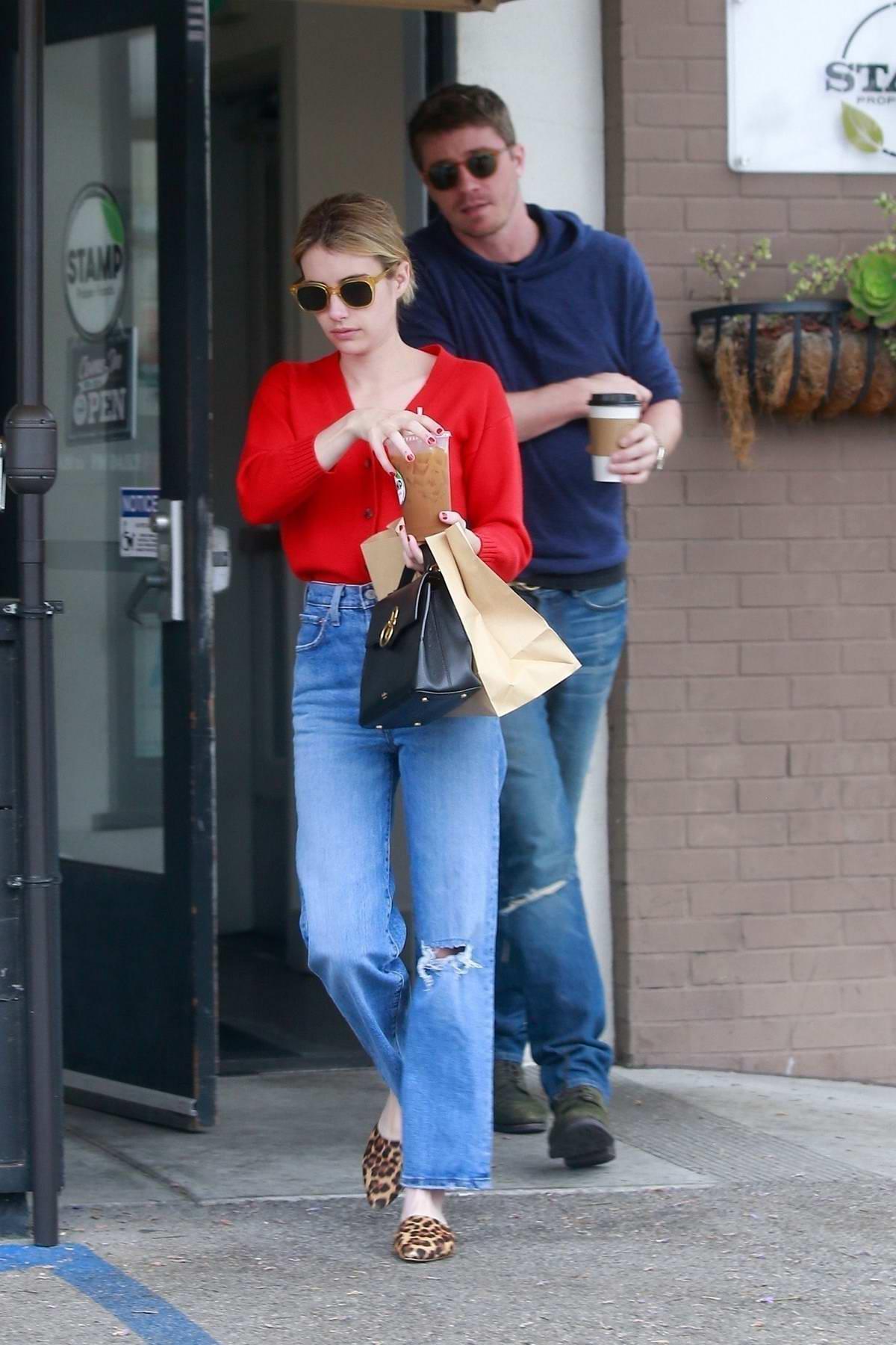 Emma Roberts And Boyfriend Garrett Hedlund Grab Food And Coffee From Stamp In Los Feliz California