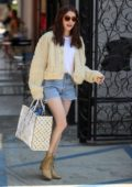 Emma Roberts sports her new brunette look as she leaves and Nine Zero One Salon in West Hollywood, Los Angeles
