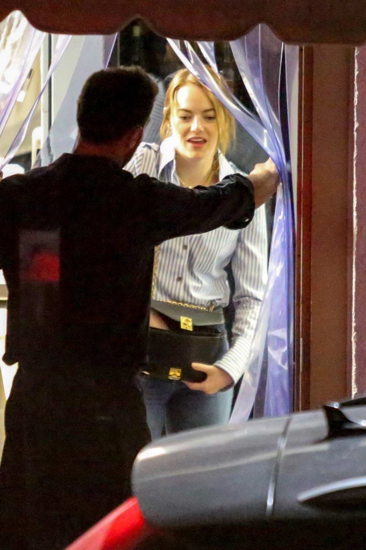 Emma Stone seen leaving after dinner with friends at Giorgio Baldi in Santa Monica, California