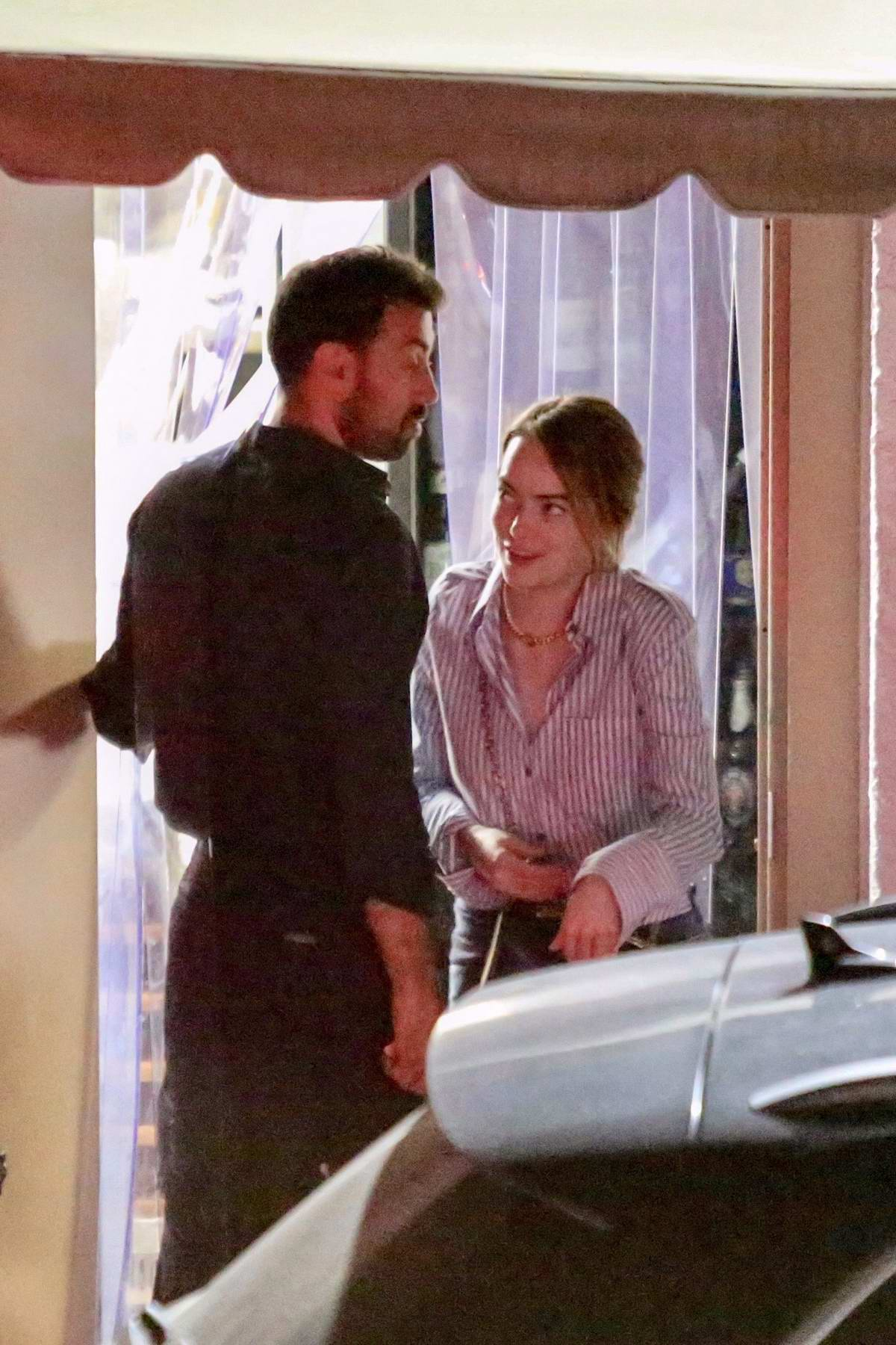 emma stone seen leaving after dinner with friends at giorgio