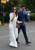Felicity Jones attends the 2019 Wimbledon Tennis Championships at All England Lawn Tennis and Croquet Club in London, UK