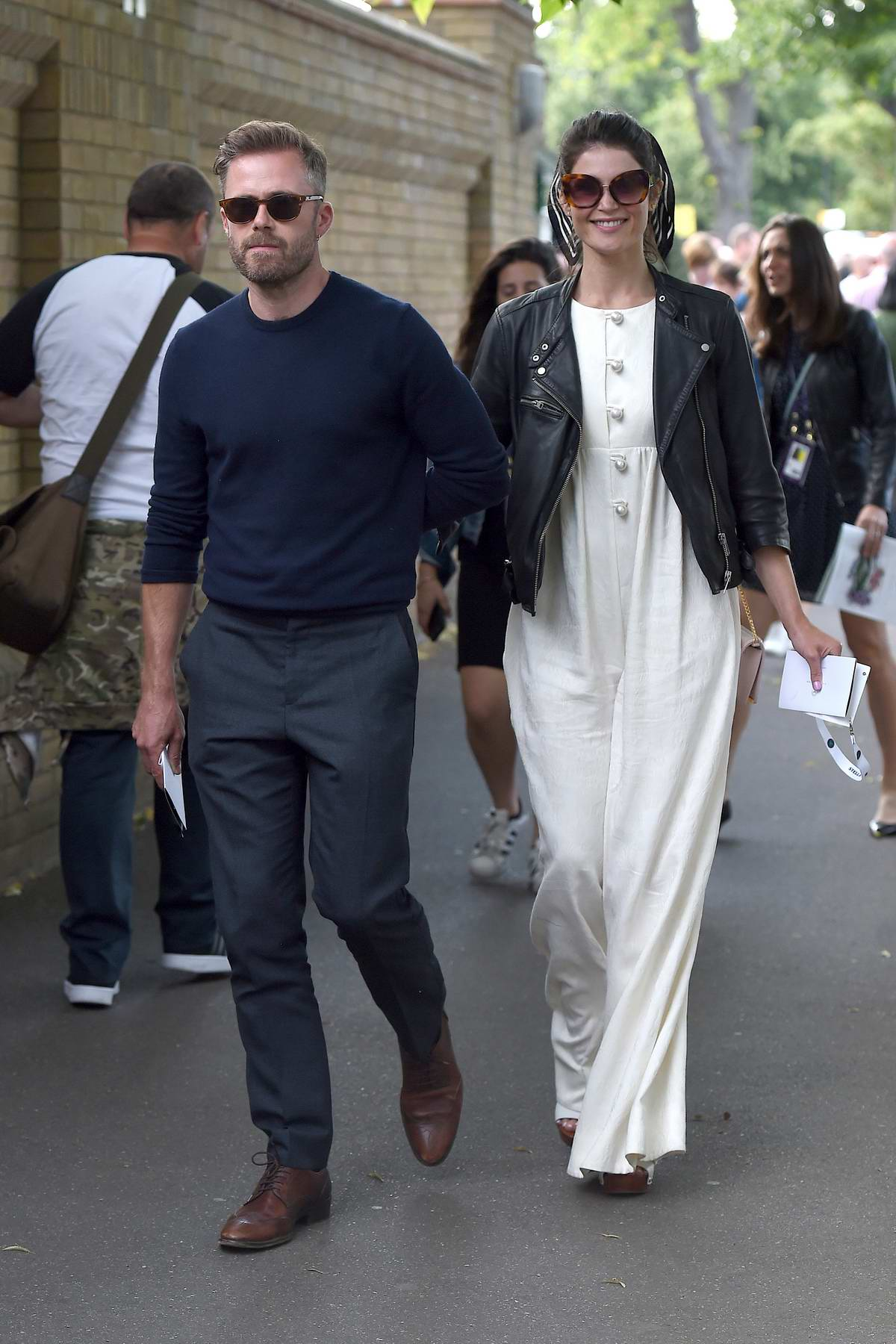 Gemma Arterton and Rory Keenan attend Men's Final Day at the Wimbledon 2019 Tennis Championships in London, UK