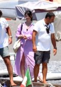Gemma Arterton spotted on the beach while on vacation with friends in Positano, Italy