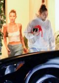 Gigi and Bella Hadid kept it casual as they leave a 4th of July house party in Los Angeles