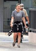 Hilary Duff bursts out laughing while running errands in Studio City, Los Angeles
