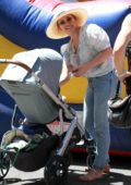 Hilary Duff enjoys a day out with her family at the Farmers Market in Studio City, Los Angeles