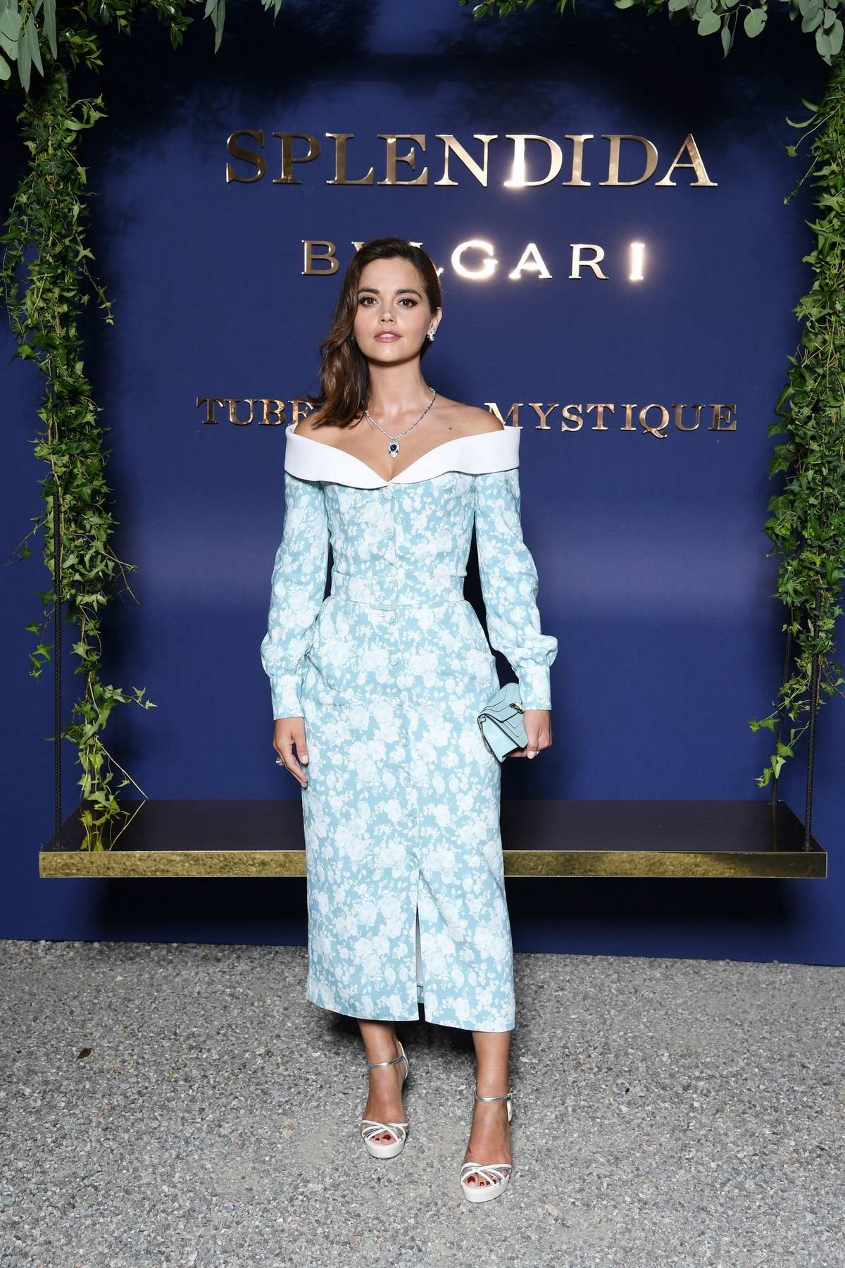 Jenna Coleman attends the Bvlgari Splendida Tubereuse Mystique Event in Cernobbio, Italy