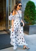 Jessica Alba looks pretty in a white dress as she steps out in the Flatiron District in New York City
