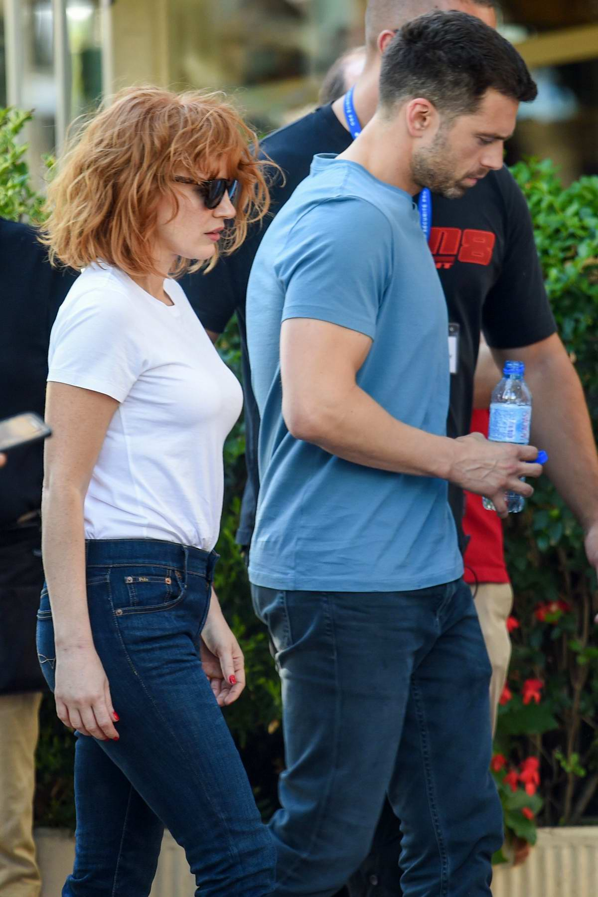 Jessica Chastain and Sebastian Stan spotted on the set of their upcoming movie '355' in Paris, France