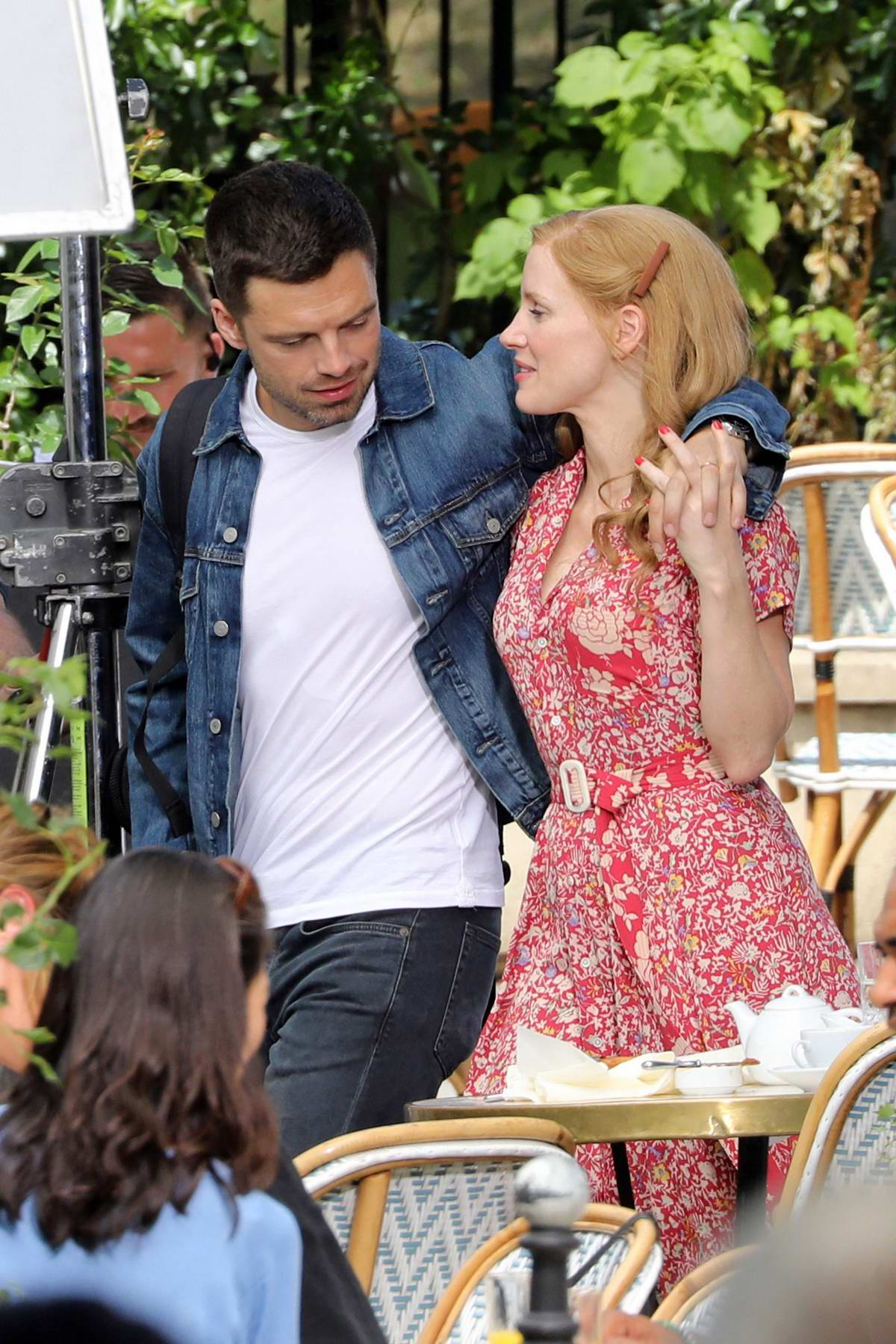 Jessica Chastain spotted on set of '355' with Sebastian Stan in Paris, France