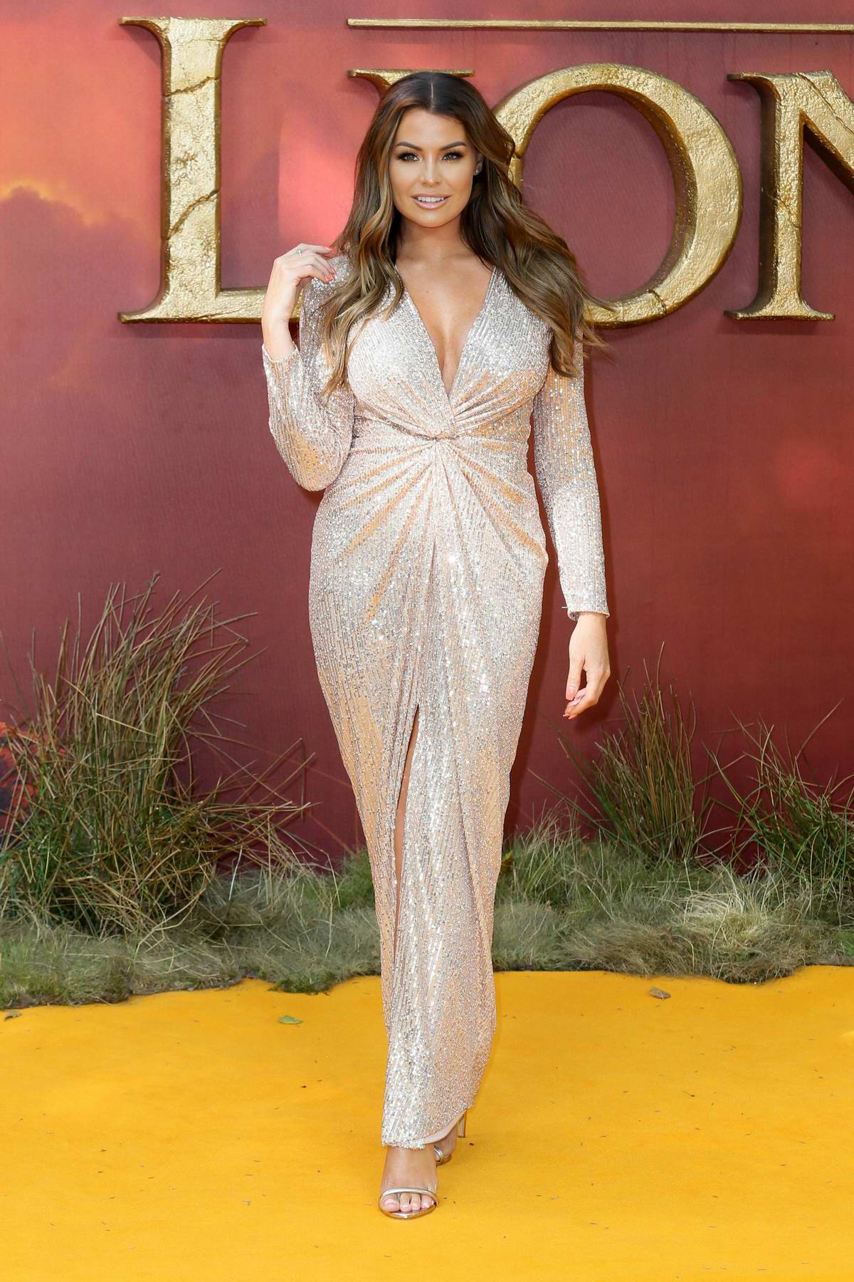 Jessica Wright attends the European Premiere of Disney's 'The Lion King' European in Leicester Square, London, UK