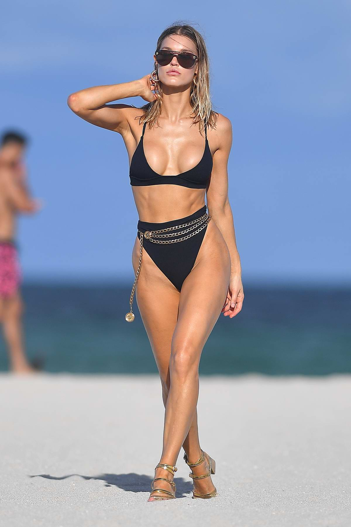 Joy Corrigan sizzles in a black bikini during a photoshoot in Miami Beach, Florida