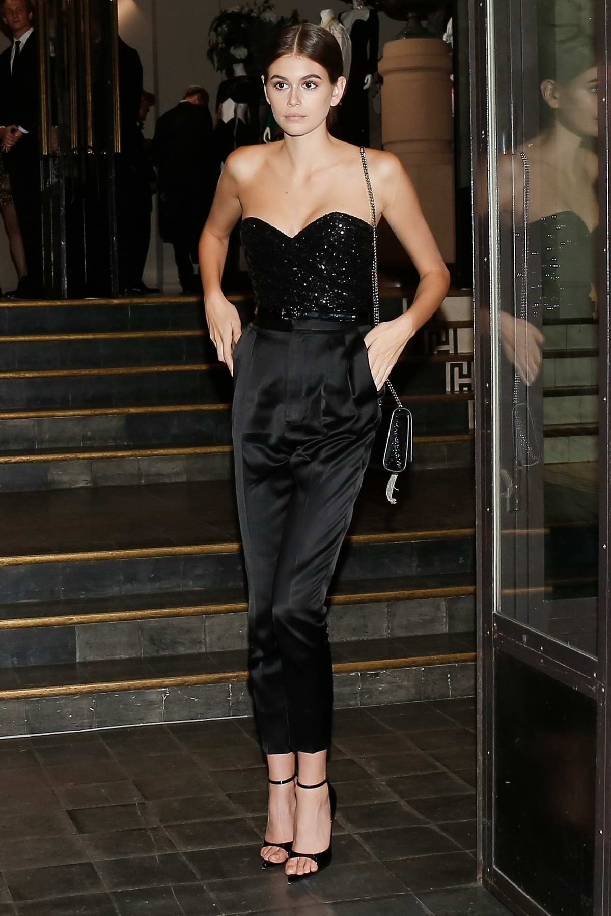 Kaia Gerber attends Vogue dinner during Haute Couture Fall/Winter 2019/20, Paris Fashion Week at Le Trianon in Paris, France