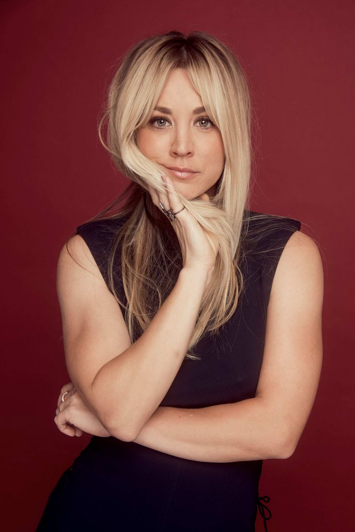 Kaley Cuoco poses during the 2019 Summer TCA Portrait Studio at The Beverly Hilton Hotel in Beverly Hills, Los Angeles