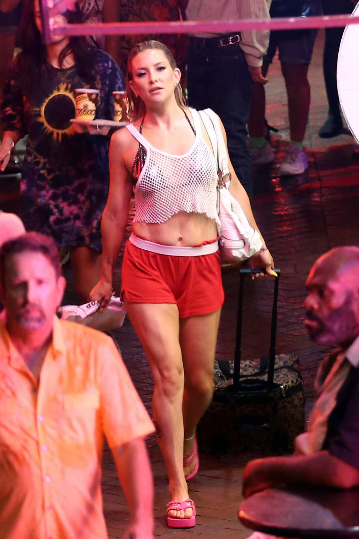 Kate Hudson dressed in tank top and shorts while filming 'Mona Lisa and the Blood Moon' in New Orleans, Louisiana