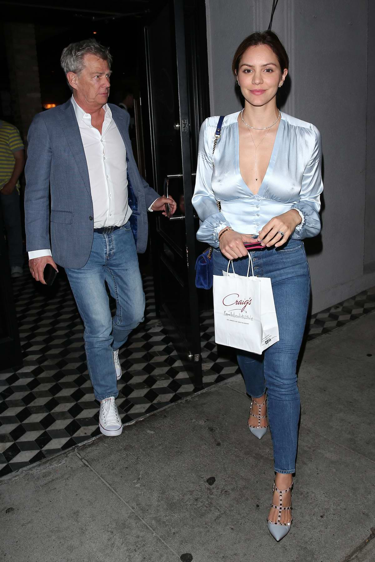 Katharine McPhee and David Foster enjoy a date night at Craig's in West Hollywood, Los Angeles