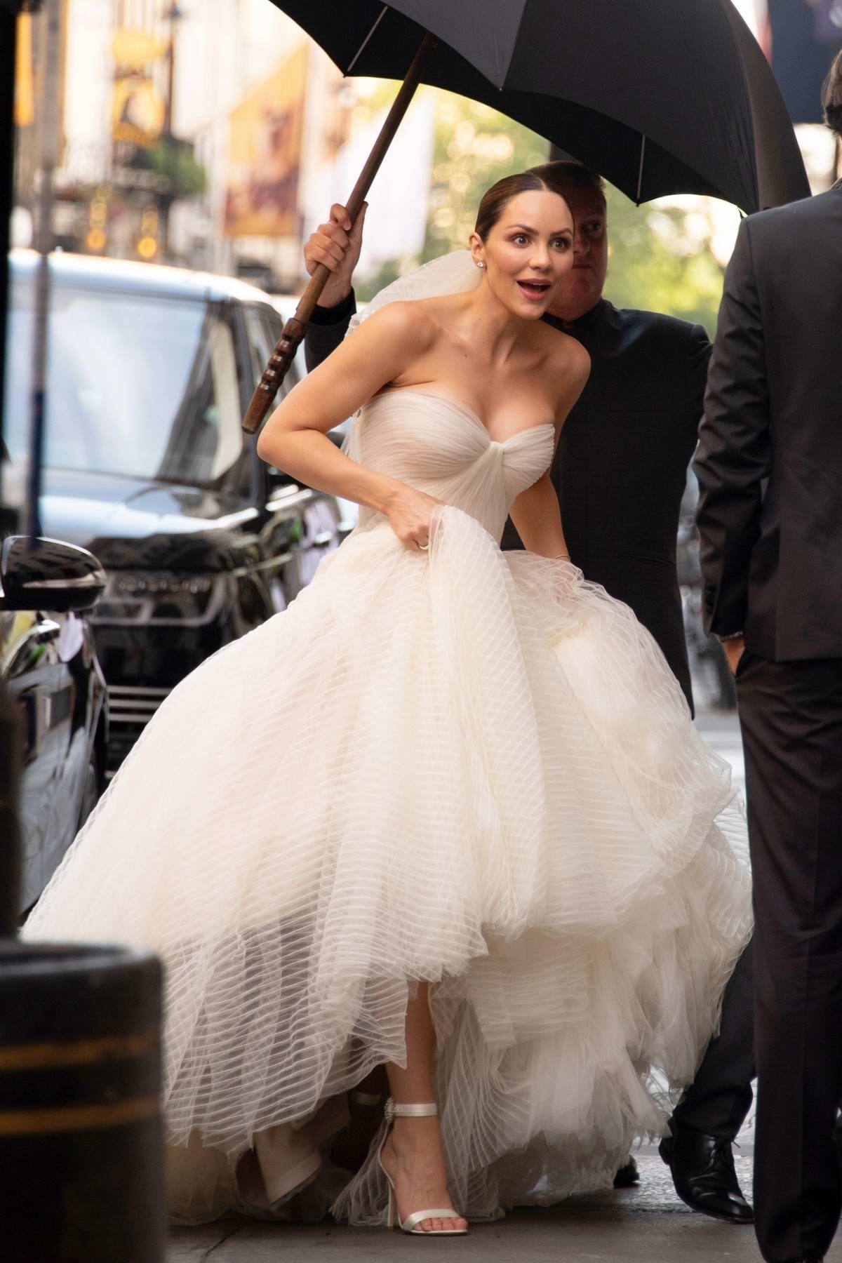 Katharine McPhee arrives for her wedding at the St. Yeghiche Armenian Apostolic Church in Kensington, London, UK