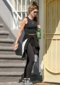 Katherine Schwarzenegger wore a black tank top and leggings as she left the gym in Los Angeles