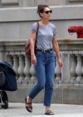 Katie Holmes dressed casual in a grey t-shirt and blue jeans while out in New York City